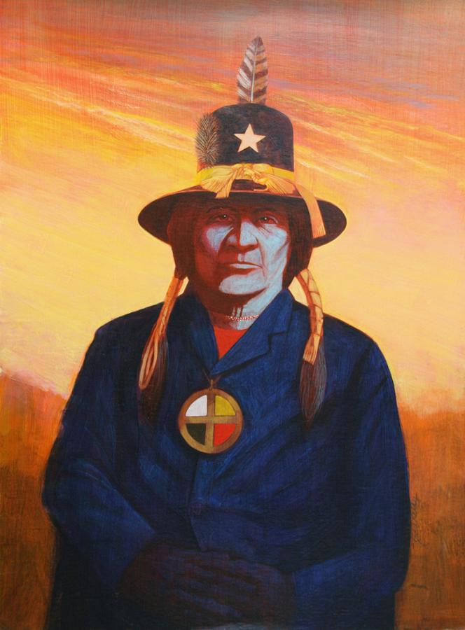 Native American Indian Painting - Tosh-a-wah,peneteka Comanche Chief by J W Kelly