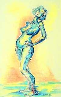 Pastel Painting - Tossing A Glance by Ellen Woodbury