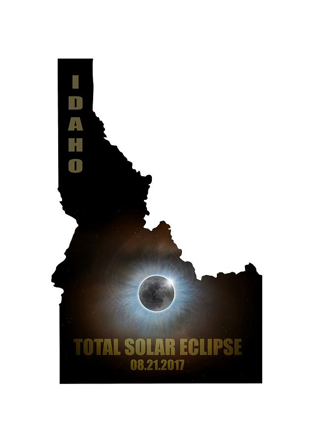 Total Solar Eclipse In Idaho Map Outline Digital Art by David Gn