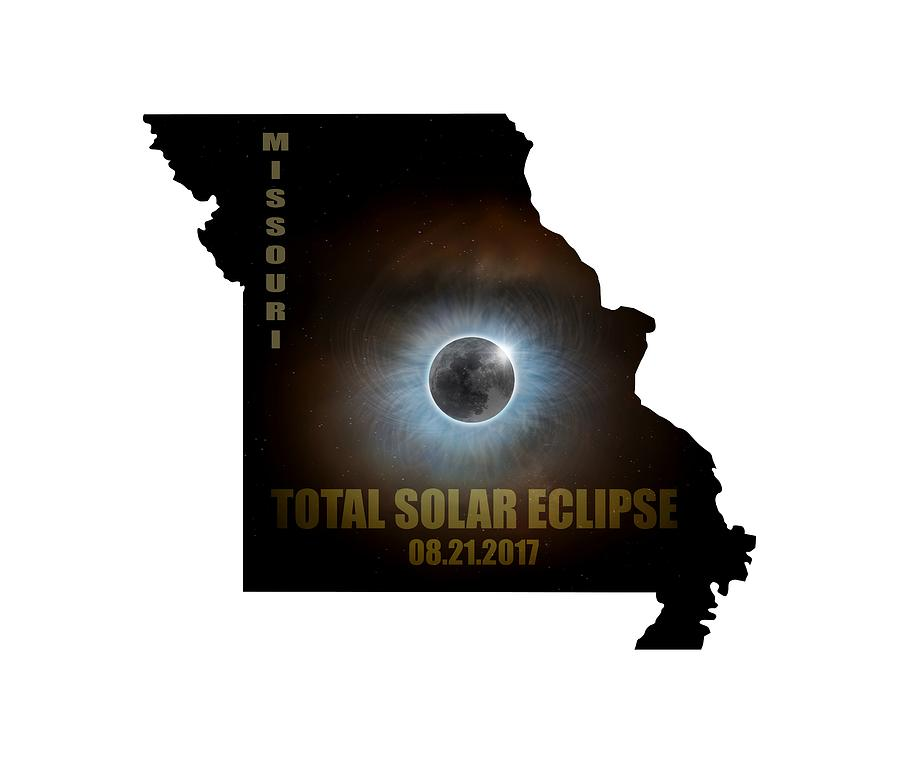 Total Solar Eclipse In Missouri Map Outline Digital Art by David Gn