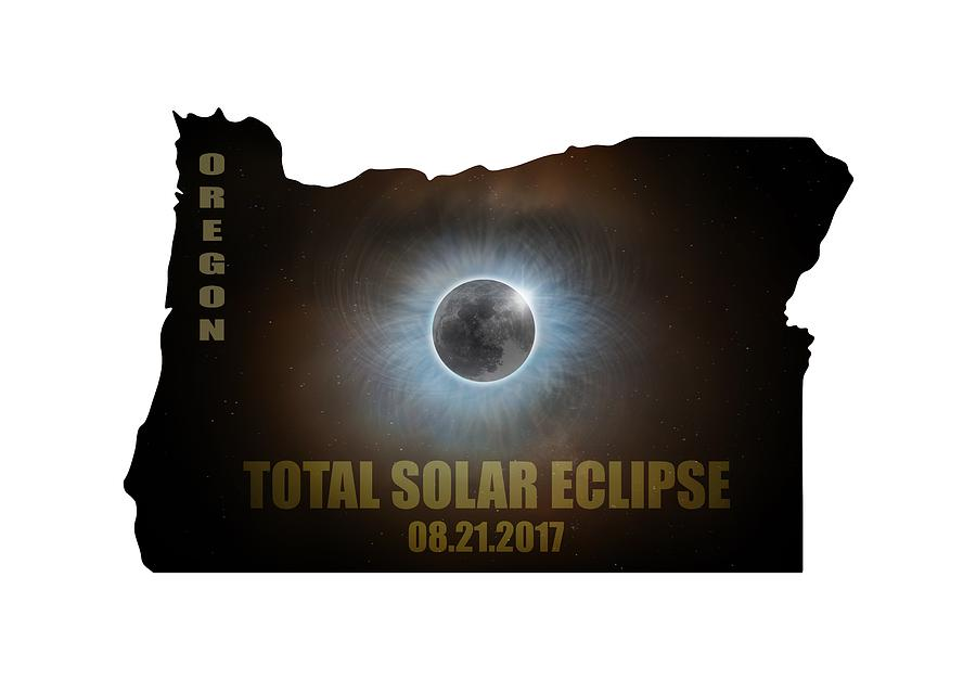 Total Solar Eclipse In Oregon Map Outline Photograph by David Gn