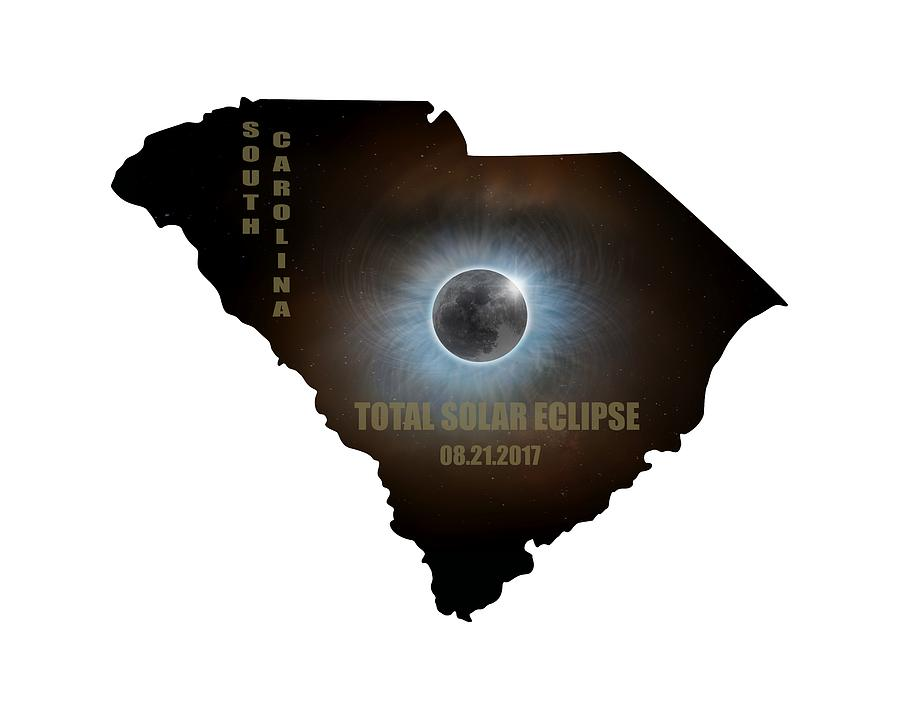Total Solar Eclipse In South Carolina Map Outline Photograph by David Gn