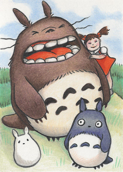 Atc Drawing - Totoro And Friends After Hayao Miyazaki by Amy S Turner