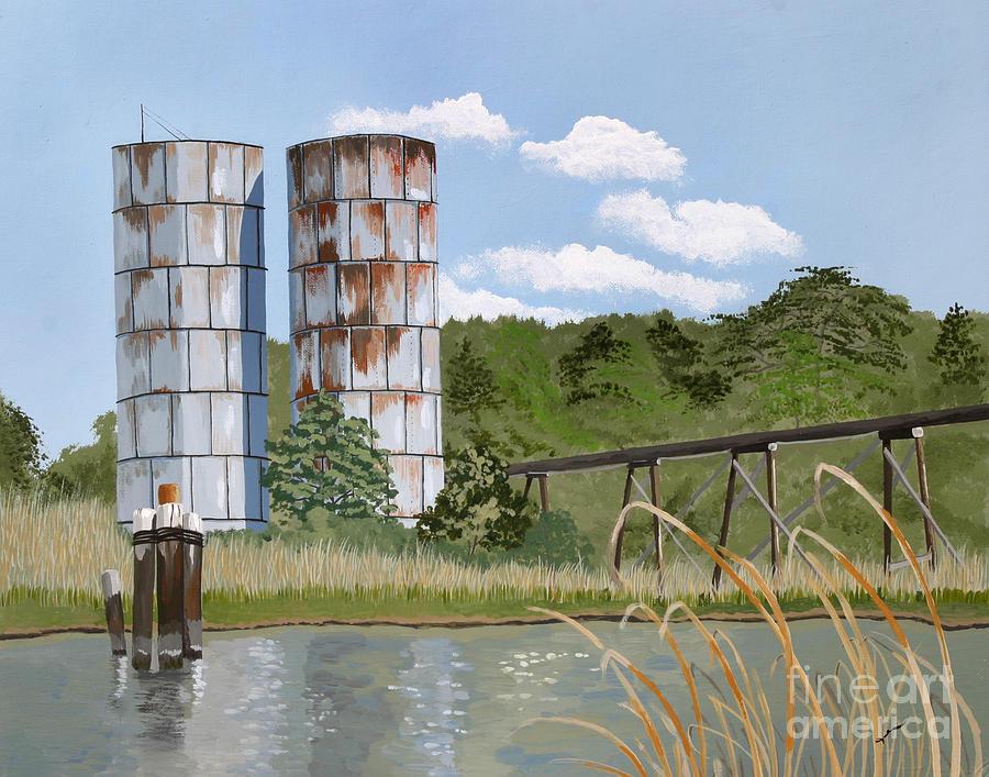 River Scene Painting - Totuskey Silos by Jennifer  Donald