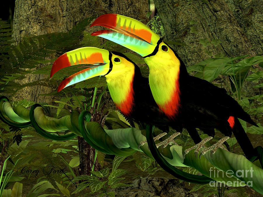 Toucan Jungle Painting By Corey Ford