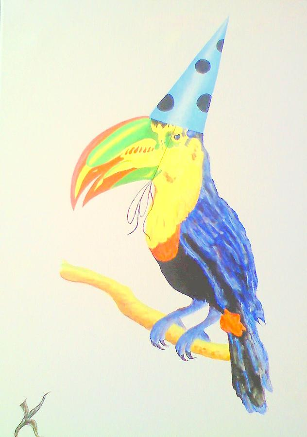 Toucan With  Party Hat Painting by Roger Golden