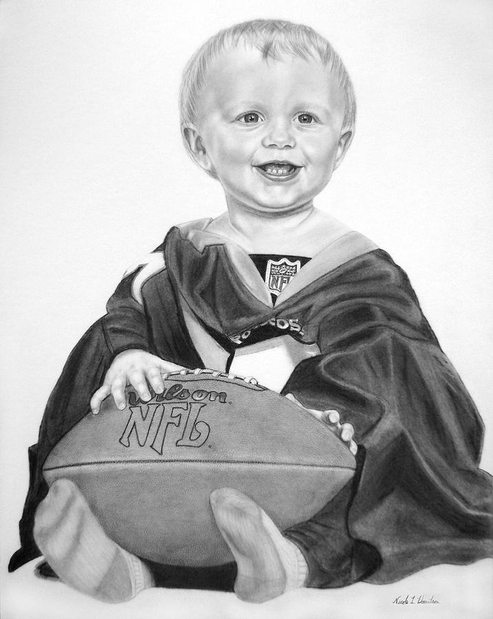 Football Drawing - Touchdown by Nicole I Hamilton