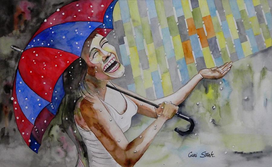 Rain Painting - Touching The Rain by Guri Stark