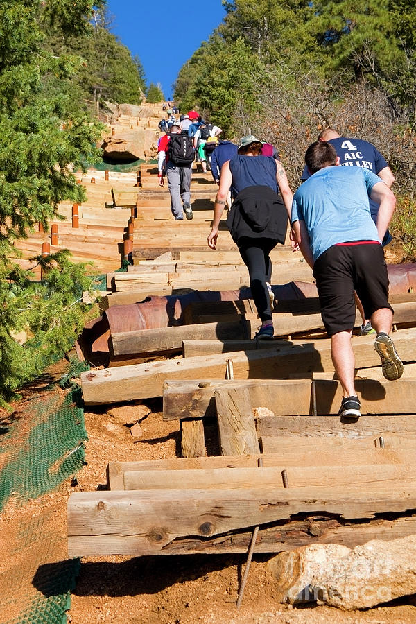 Tough Climb On The Manitou Incline And Barr Trail Photograph