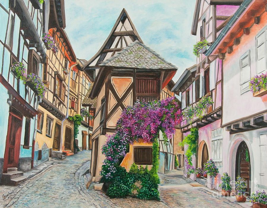 France Painting - Touring In Eguisheim by Charlotte Blanchard