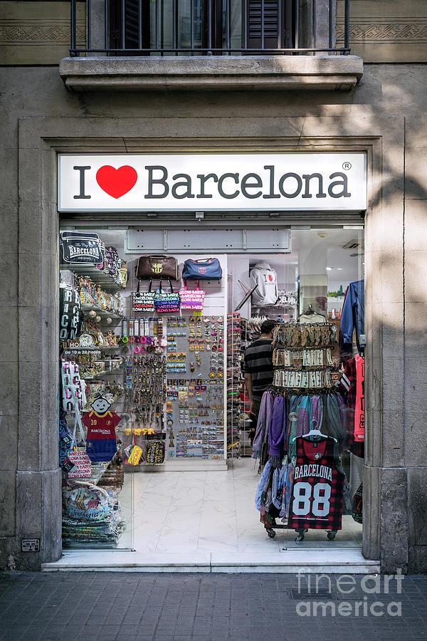 Tourist Souvenir Shop Exterior In Ramblas Downtown Area Barcelon Photograph