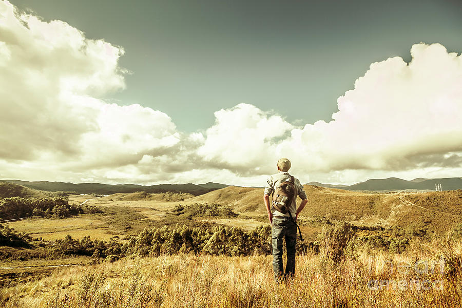 Tourism Photograph - Tourist With Backpack Looking Afar On Mountains by Jorgo Photography - Wall Art Gallery