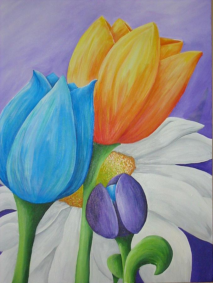 Flower Painting - Tout En Fleur by Christiane Fortin