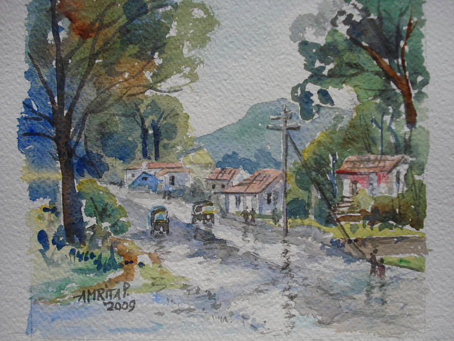 Village Painting - Towards Mora Port by Amrita Puntambekar