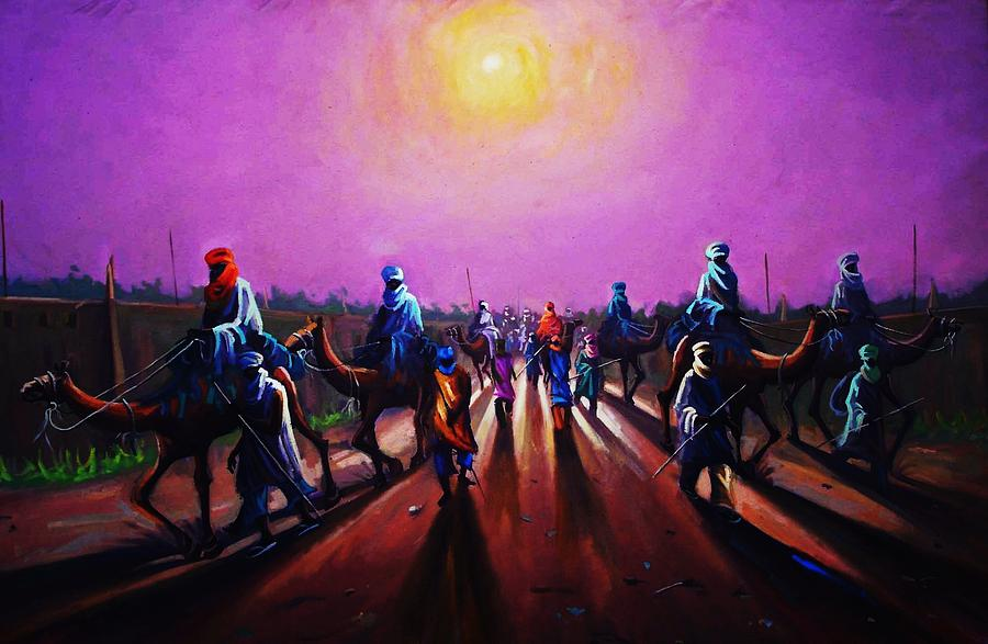 Camel Painting - Towards Zaria by Aderonke ADETUNJI