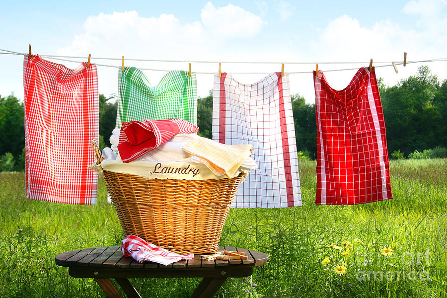 Basket Digital Art - Towels Drying On The Clothesline by Sandra Cunningham