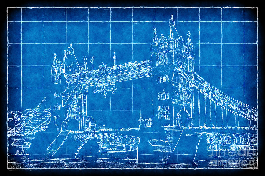 Tower bridge blueprint digital art by john rizzuto tower bridge digital art tower bridge blueprint by john rizzuto malvernweather Image collections