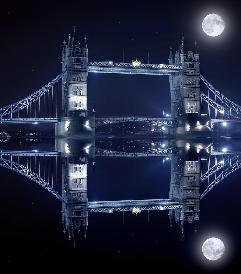 Architecture Photograph - Tower Bridge In London By Night  by Jaroslaw Grudzinski
