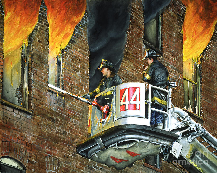 Fdny Painting - Tower Ladder 44-south Bronx by Paul Walsh