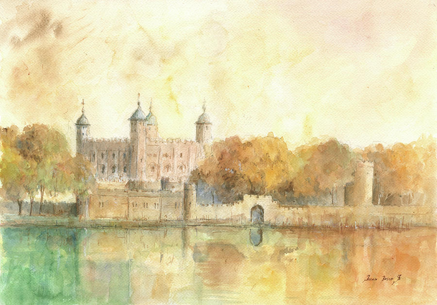 tower of london watercolor painting by juan bosco