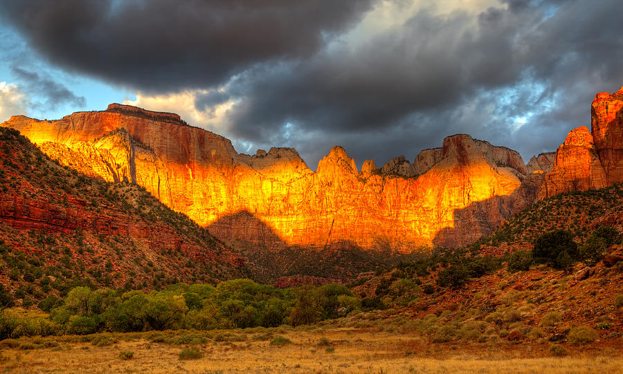 Zion National Park Photograph - Towers Of The Virgin Two by Paul Basile