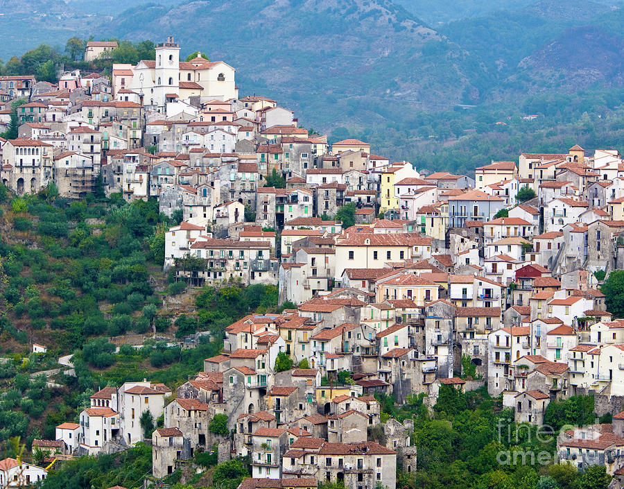 Italy Photograph - Town clinging to a hill top in Southern Italy by Damian Davies