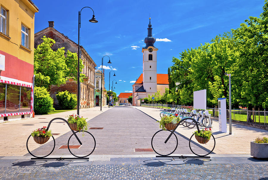 Bicycle Photograph - Town Of Bicycles Koprivnica Street View by Brch Photography