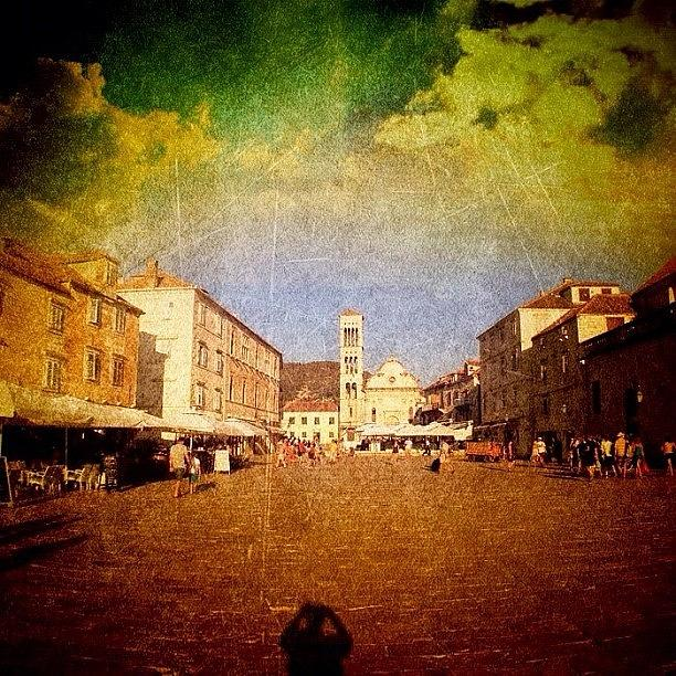 Edit Photograph - Town Square #edit - #hvar, #croatia by Alan Khalfin