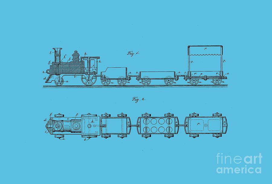 Toy Drawing - Toy Train Tee by Edward Fielding