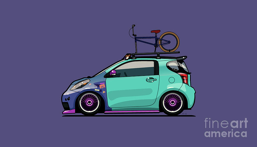 toyota digital art   toyota scion iq slammed with bmx bike by monkey
