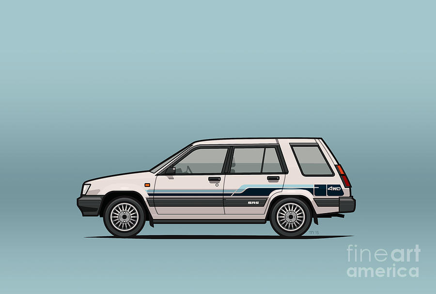 Car Digital Art - Toyota Tercel Sr5 4wd Wagon Al25 White by Monkey Crisis On Mars