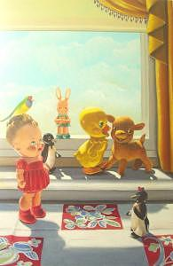 Vintage Painting - Toys And Bird by Lauren Cole Abrams