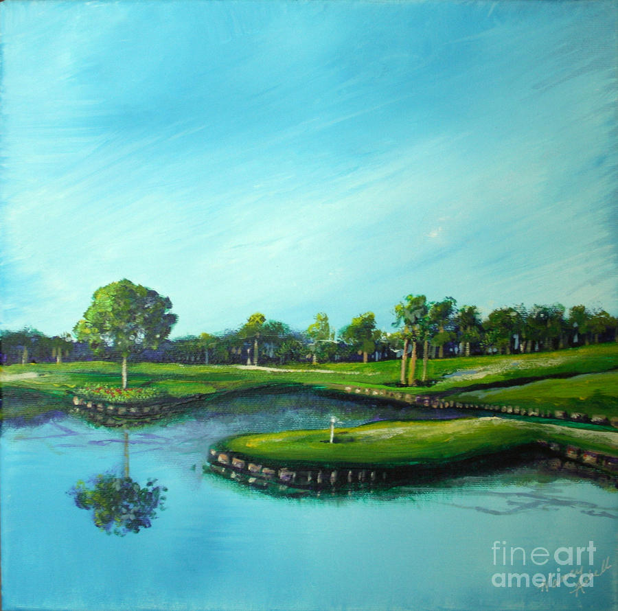 Golf Painting - Tpc 17th Hole 2010 by Michele Hollister - for Nancy Asbell