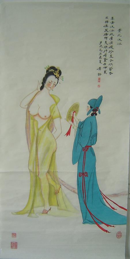 Imperial Painting - Tr 024 High-ranked Imperial Concubine Come Out Bath by Mojie Wang