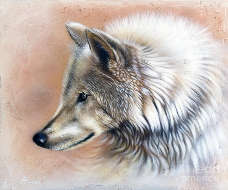 Wolves Painting - Trace IIi by Sandi Baker
