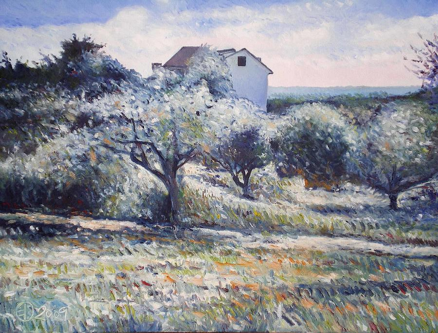 Track Leading Alongside Orchard With Farmhouse Near Monte Cardeto Italy 2009 Painting by Enver Larney