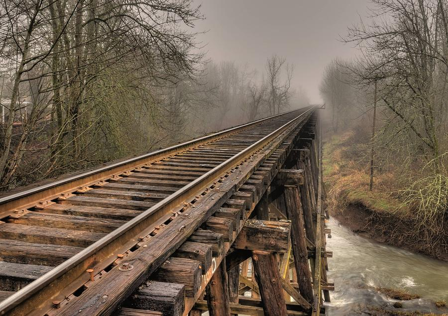 Train Photograph - Track To Some Where by Peter Schumacher