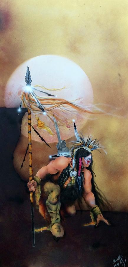 Native American Warrior Painting - Tracker by Mike Smith