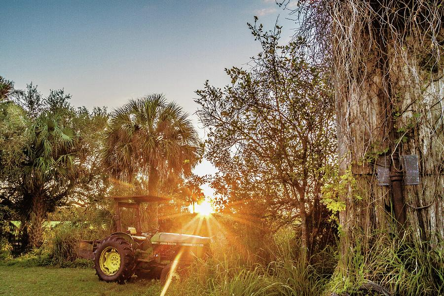 Tractor Photograph - Tractor At Sunset by Clyde Scent