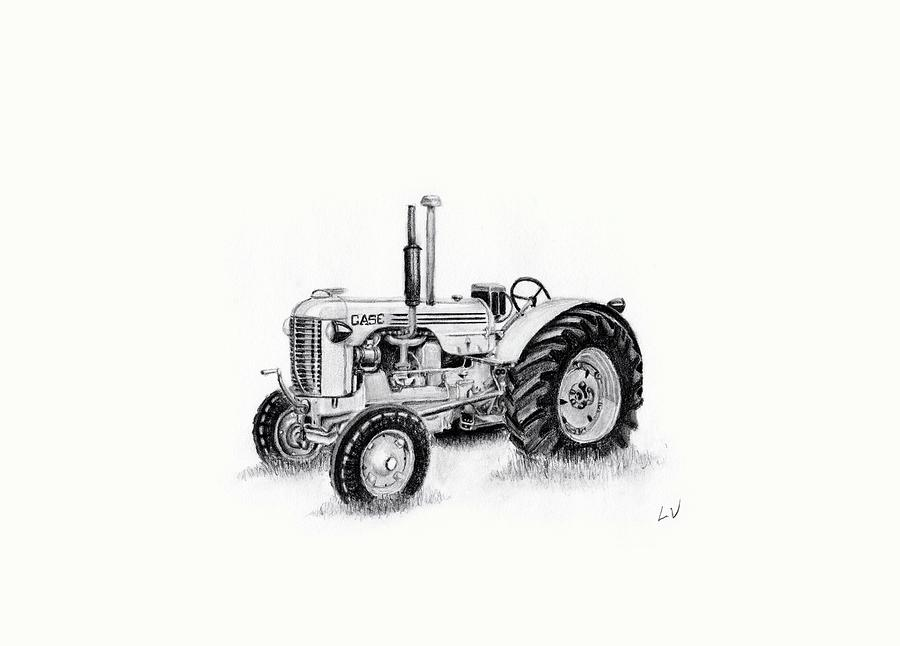 Case Drawing - Case Tractor by Lynette Vinck