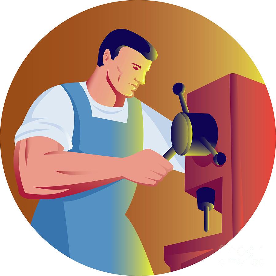 Tradesman Digital Art - Trade Factory Worker Working With Drill Press by Aloysius Patrimonio