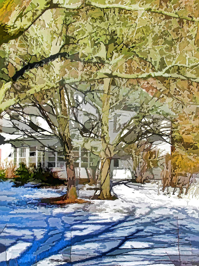 American Painting - Traditional American Home In Winter by Lanjee Chee