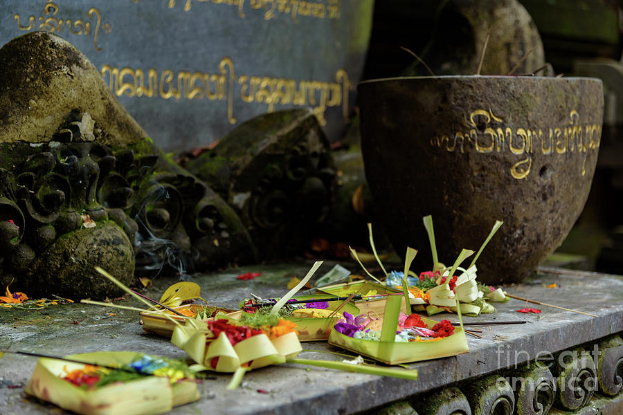 Traditional Balinese Offering at Tirta Empul Water Temple, Bali, Indonesia by Global Light Photography - Nicole Leffer