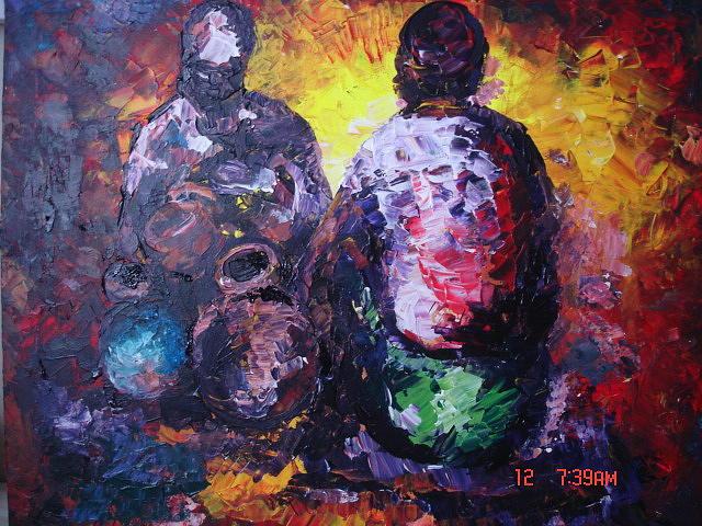 Bm Painting - Traditional Doctor by Muheme BISIMWA