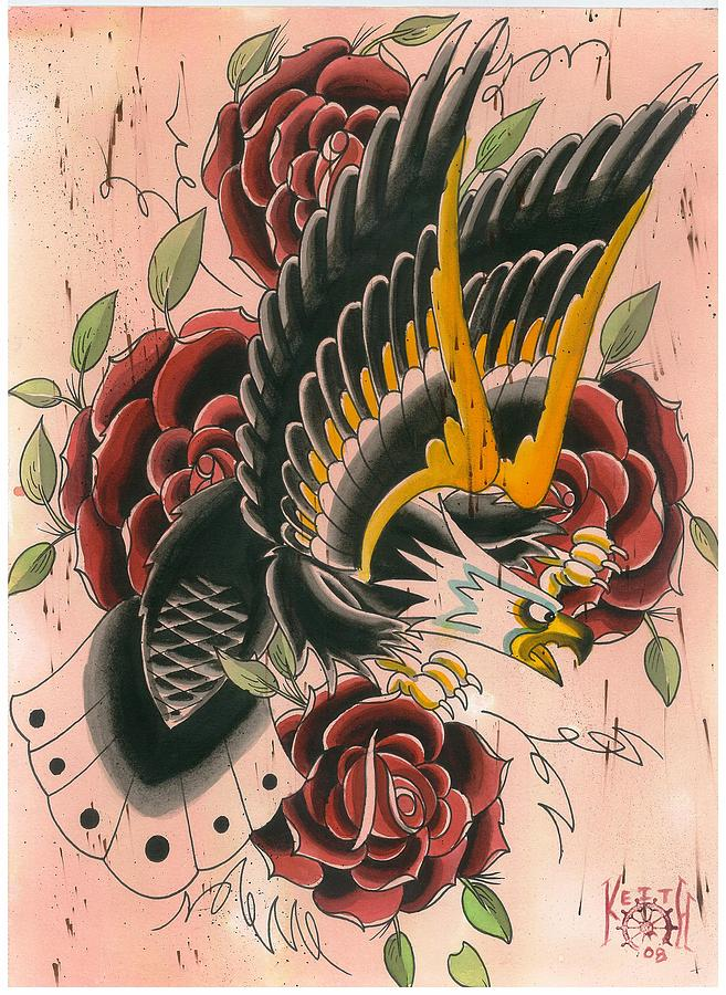 Traditional Eagle And Roses Painting by Keith Diffenderfer