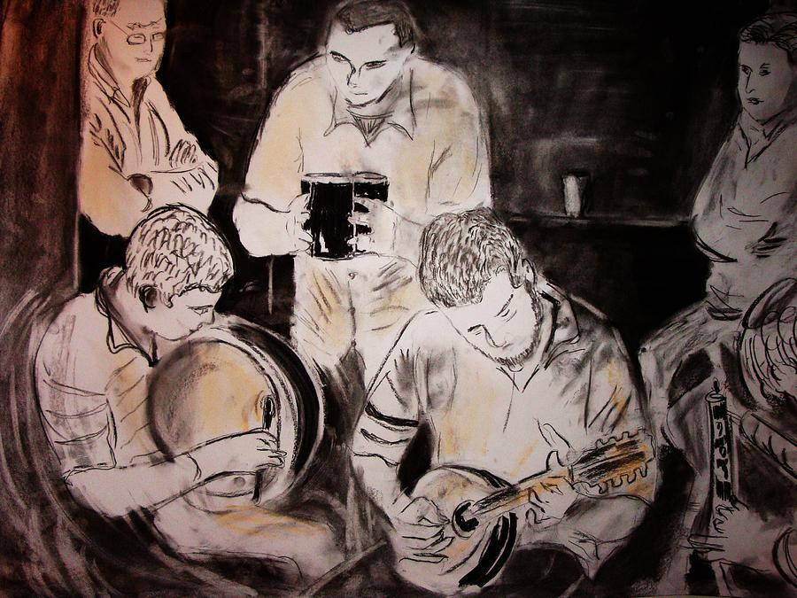 Traditional Irish Music Session Drawing by Gerard Dillon
