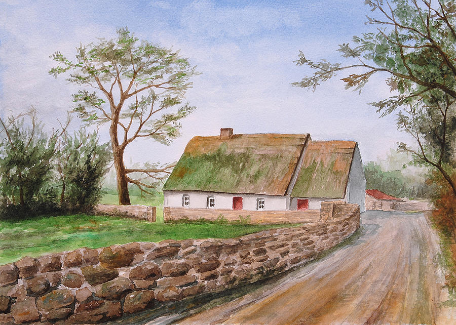 Traditional Irish Thatched Cottage Painting By Jeno Futo