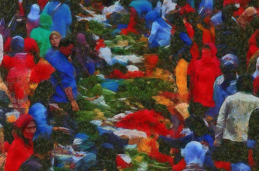 Traditional Market Painting - Traditional Market by Galih Eko Nurcahyo