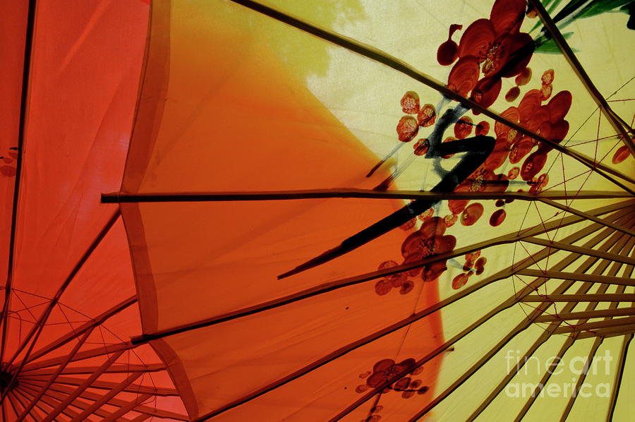 Art And Craft Photograph - Traditional Red And Yellow Umbrellas by Sami Sarkis