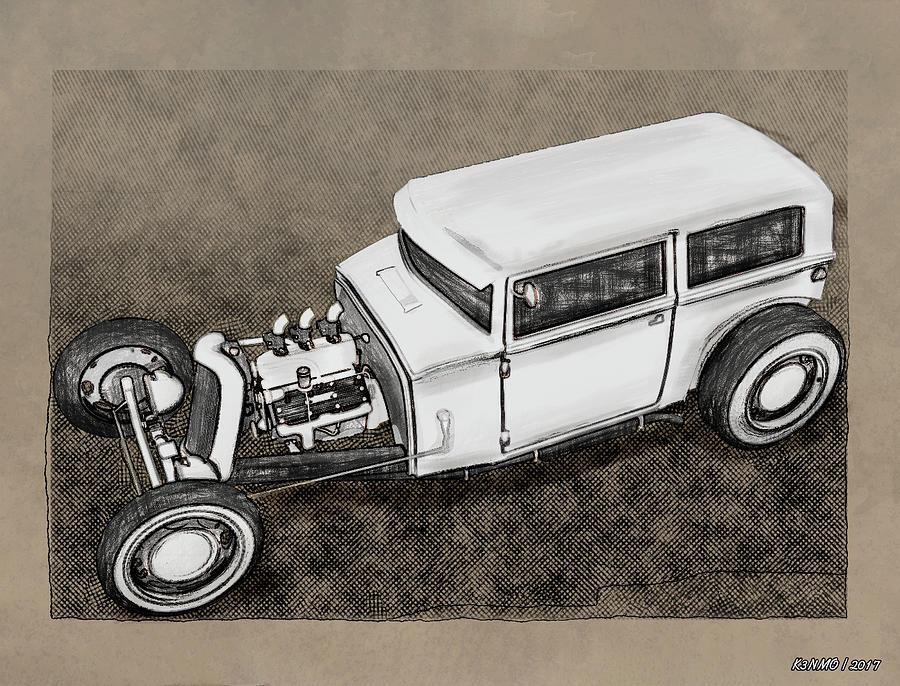 Auto Digital Art - Traditional Styled Hot Rod Sedan by Ken Morris